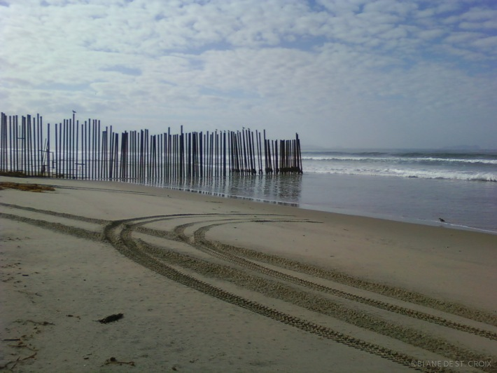 End of the border fence as it runs into the Pacific Ocean at Border Field State Park (Imperial Beach, CA).