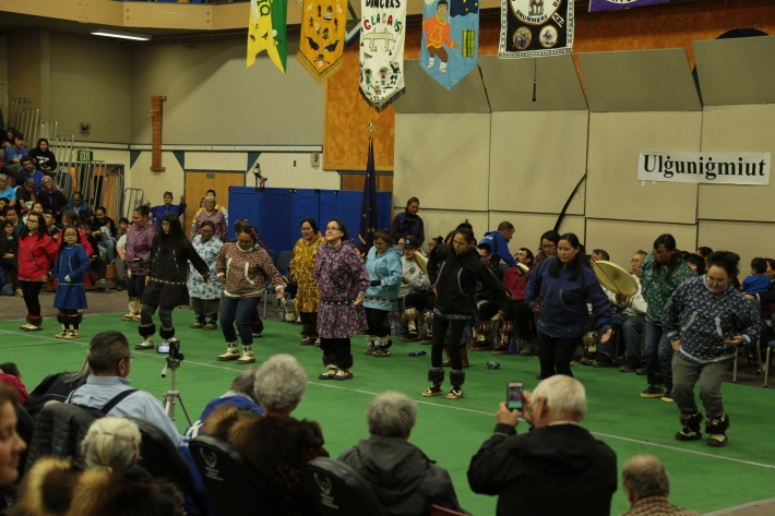 Nalukatuk festival, bi-annual traditional event to share and save the Inuit communities dance and song, Utqiaġvik, Ak