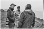 Artist with Inupiaq tribal leaders Herman Ahsoak and Ned Arey, overlooking the Arctic Ocean Utqiagvik AK, photo Paul DeLuna