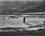 Artist at Arctic Ocean after severe storm Utqiagvik, AK, photo Paul DeLuna