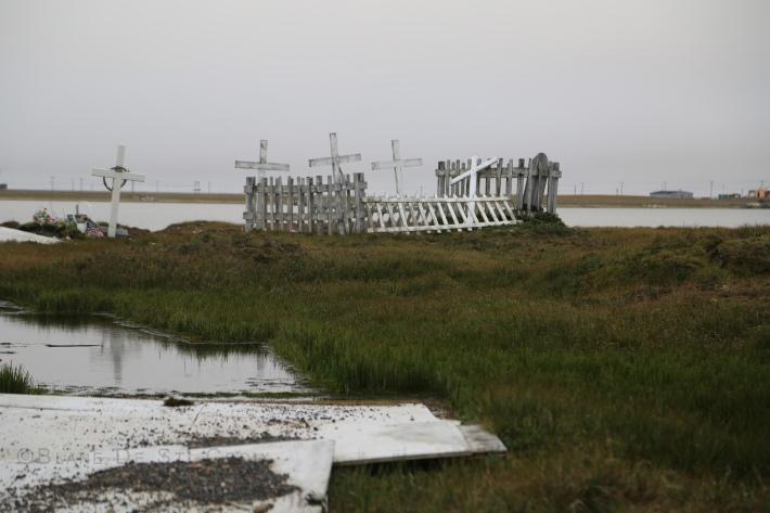 Flooded graveyard due to melting permafrost, Utqiagvik, AK