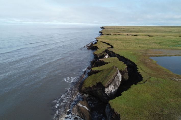 Coastline falling into Arctic Ocean, North Western, Teshekpuk, AK, II Photo scientist Ben Jones