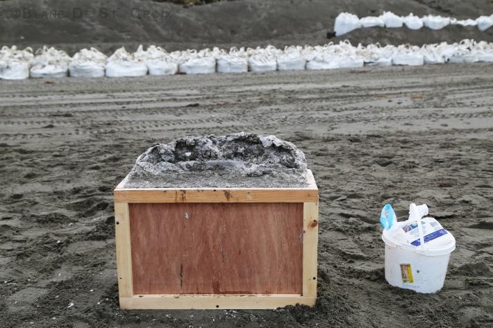 Artist plein air super bags to save Utqiaġvik from sever Arctic Ocean storms, Alaska