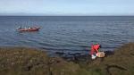Artist plein air of permafrost erosion on Arctic Ocean, High Arctic, Utqiagvik region, AK